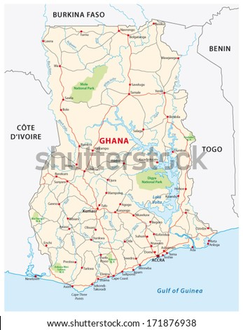 Ghana Road Map Stock Vector 171876938 Shutterstock