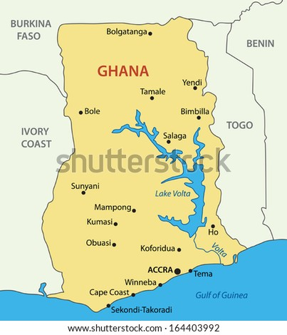 Ghana - vector map - stock vector