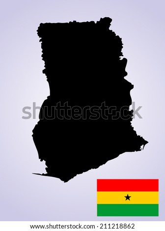 Ghana vector map and vector flag high detailed silhouette illustration, isolated on white background.
