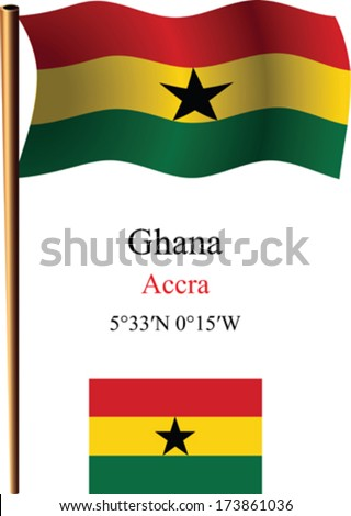 ghana wavy flag and coordinates against white background, vector art illustration, image contains transparency - stock vector