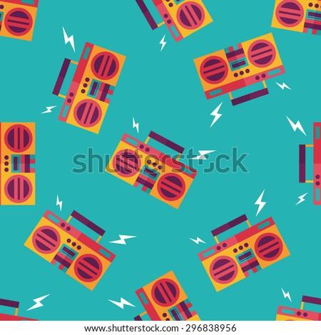 ghetto blaster audio flat icon,eps10 seamless pattern background - stock vector
