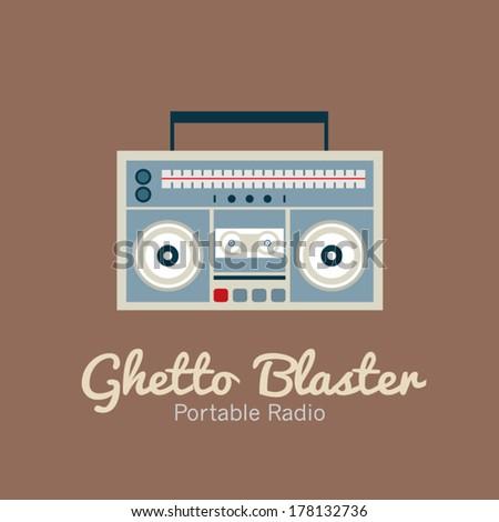 Ghetto Blaster Radio Vector Illustration - stock vector