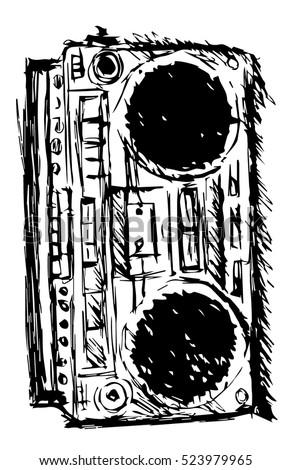 Ghetto blaster sketch stock vector 523979965 shutterstock ghetto blaster sketch sciox Gallery