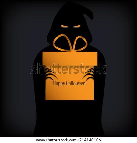 Ghost holding Halloween gift box. Eps10 vector illustration. - stock vector