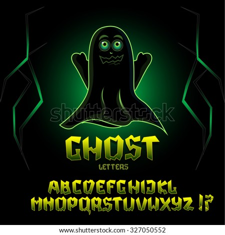 Ghost letters, mystical font, vector alphabet letters with scary ghost at night art.