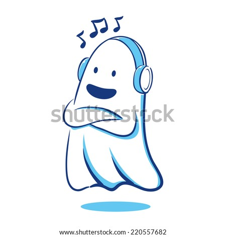 Ghost listening to music - stock vector
