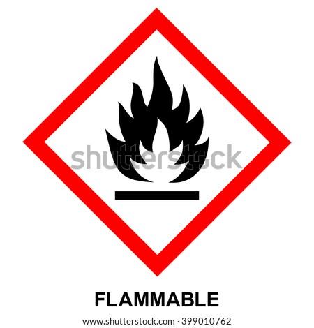 GHS hazard pictogram - FLAMMABLE , hazard warning sign flammable , isolated vector illustration - stock vector