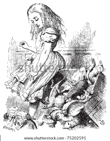 Giant Alice upsets the jury (literally) - Alice's Adventures in Wonderland original vintage engraving.  ...she jumped up in such a hurry that she tipped over the jury-box with the edge of her skirt. - stock vector