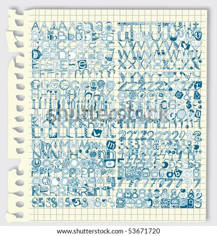 Giant Alphabet Set in Notebook (Vector) - stock vector