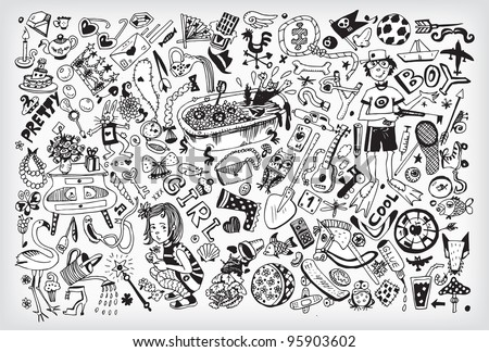 Giant Boys and Girls Interests Collection (Vector EPS10) - stock vector