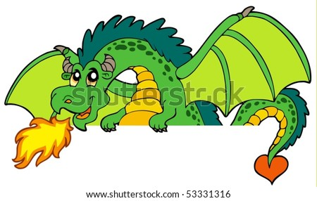 Giant green lurking dragon - vector illustration. - stock vector