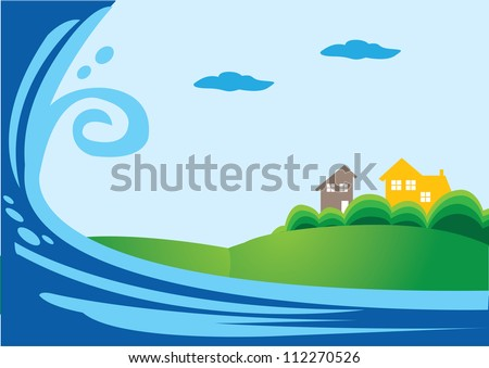 Giant Tsunami attack on a town area - stock vector