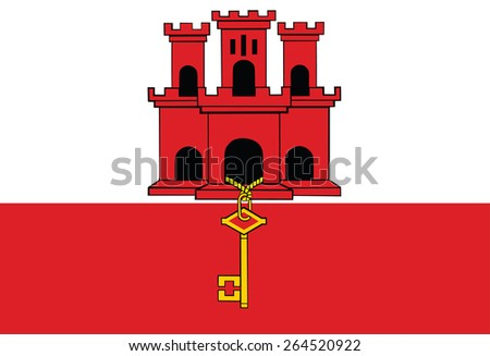 Gibraltar flag vector, Original and simple Gibraltar flag isolated vector in official colors and Proportion Correctly   - stock vector