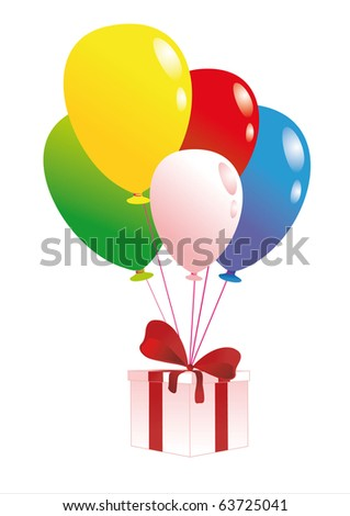 gift and baloon - stock vector