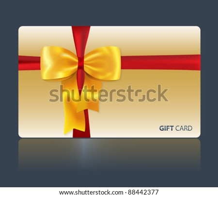 Gift and greeting card with yellow bow and red ribbon for celebrations and holidays. Vector illustration