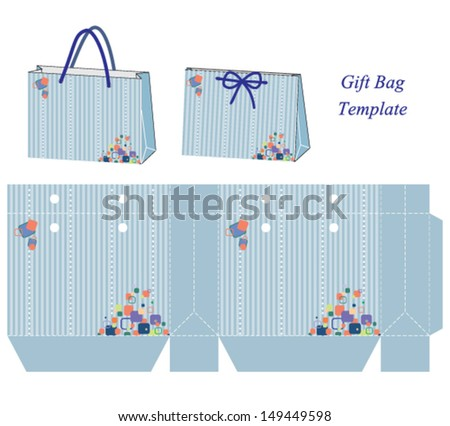 Gift bag template vector illustration stripes stock vector royalty gift bag template vector illustration with stripes and colorful bubbles maxwellsz