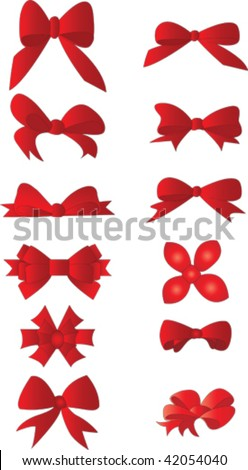 Gift bow collection - stock vector