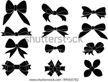 Gift bows silhouettes - stock vector