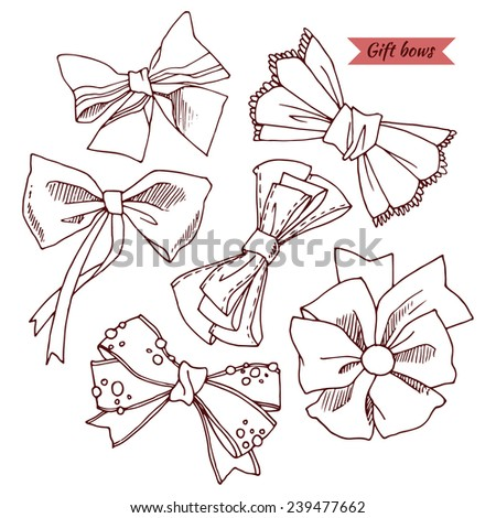 Gift bows with ribbons, bows set in sketch style, hand-drawn design elements. - stock vector