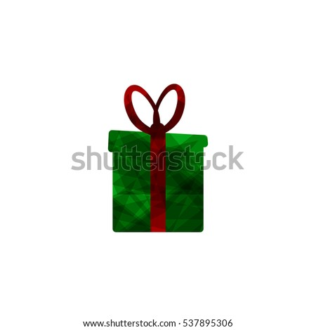 Gift box abstract logo, Christmas present, design template, vector illustration