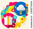 Gift box and cloud on abstract colorful splashes background with different icon and elements. Flat design for the web, print, banner, advertising. - stock vector