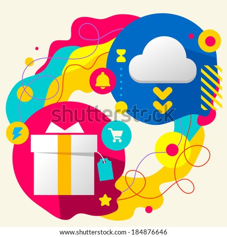Gift box and cloud on abstract colorful splashes background with different icon and elements. Flat design for the web, print, banner, advertising.