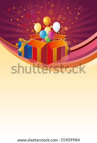 gift box,balloon,celebration background - stock vector