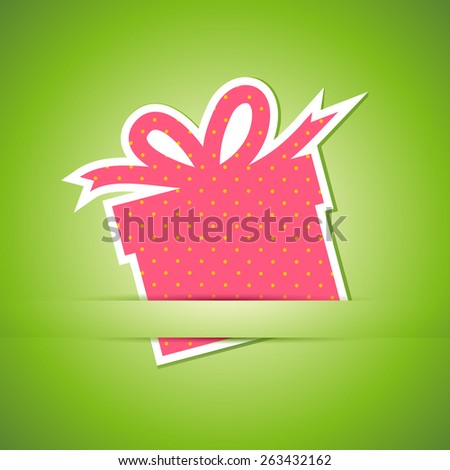 Gift box card. Vector Illustration on green background  - stock vector