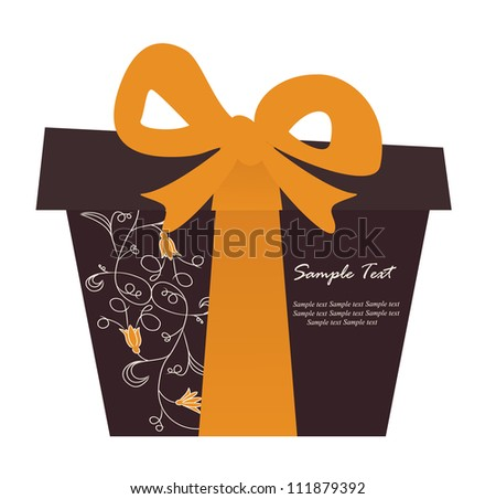 Gift box card with floral elements. Vector illustration. - stock vector
