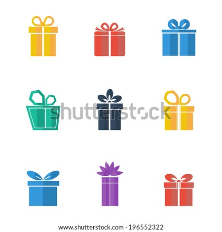 Gift box colorful icons set on white background. Different styles. Holiday Presents. Vector illustration. - stock vector