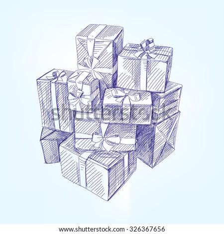 gift box hand drawn vector illustration realistic sketch - stock vector