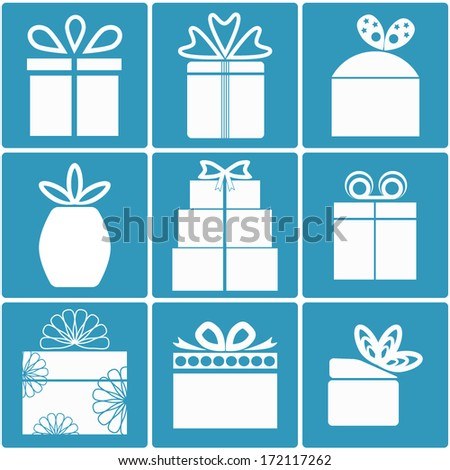 Gift box icon set different styles. Holiday presents. Blue color. Vector illustration. - stock vector