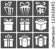 Gift box icon set different styles. Vector illustration - stock vector