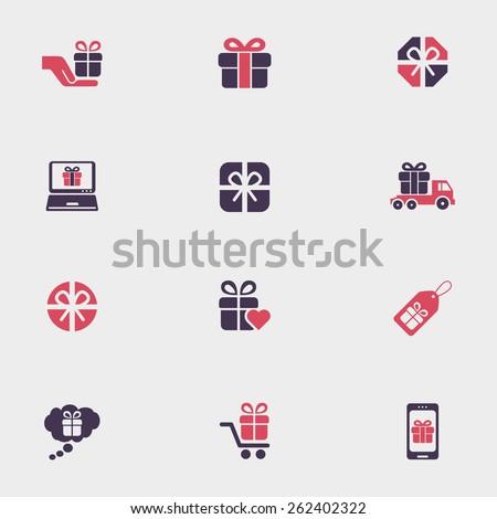 Gift box icons - stock vector