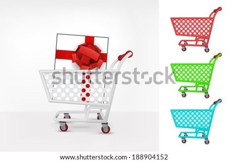 gift box in shopping cart colorful collection concept vector illustration
