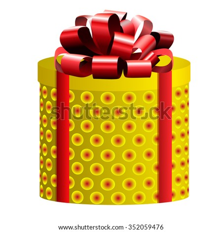 Gift box isolated on white. Yellow & red. VECTOR - stock vector