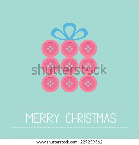 Gift box made from pink buttons. Appligue Dash line Merry Christmas card Flat design Vector illustration - stock vector