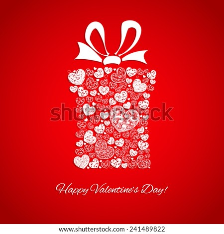 Gift box made of many hearts for Valentines Day, white on red - stock vector