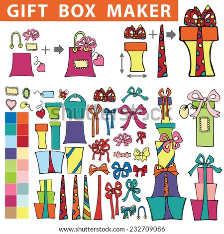 Gift box maker,constructor.Set of colorful flat gift boxes with label,tag. Hand drawing style.You can quickly make a box,bag.Easy to edit.Doodle Holiday Vector illustration.  - stock vector