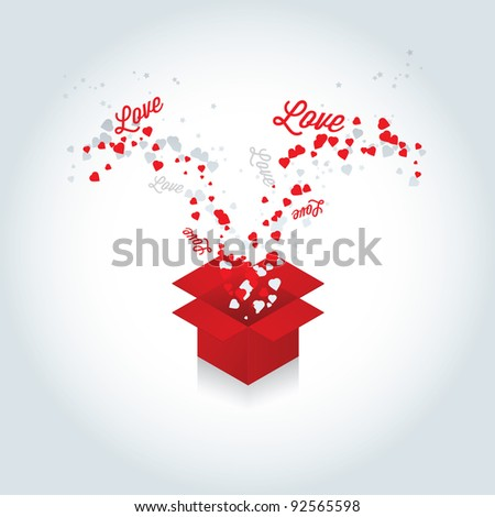 Gift Box of Love and Hearts - stock vector