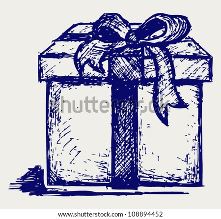 Gift box over - stock vector