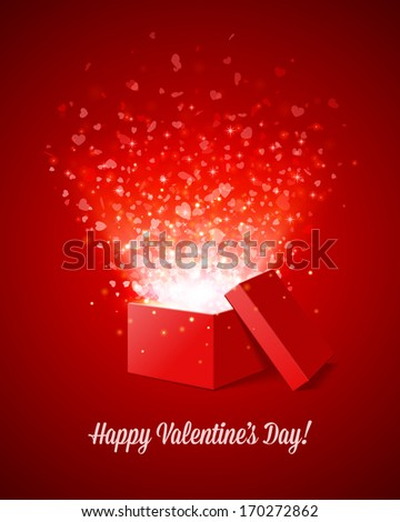 Gift box present with fly hearts. . Happy Valentine's day card.