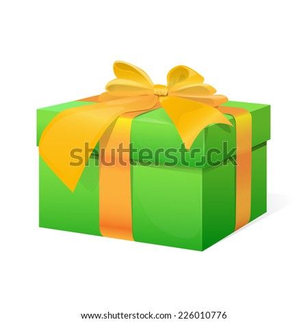 gift box present with yellow ribbon bow isolated on white background vector illustration