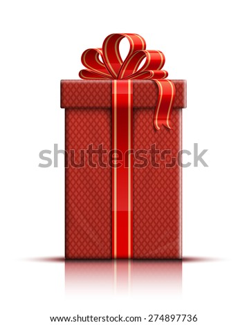 Gift box, ribbon and bow. Vector illustration - stock vector