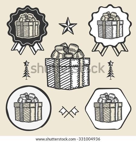 Gift box ribbon bow symbol emblem label collection set - stock vector