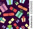 Gift box seamless pattern - stock vector