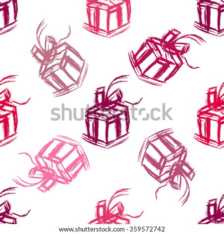 Gift box seamless pattern. Brush strokes hand drawn vector illustration.
