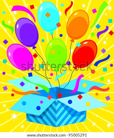 Gift box Series - Pop Balloons - stock vector