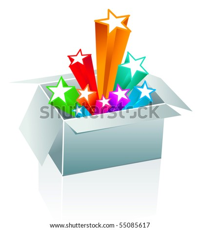 Gift box surprise - entertainment - stock vector