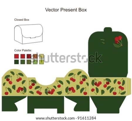 Gift box template with fresh cherry - stock vector